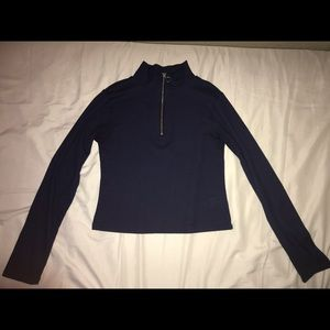 Navy blue cropped long sleeve sweater/shirt